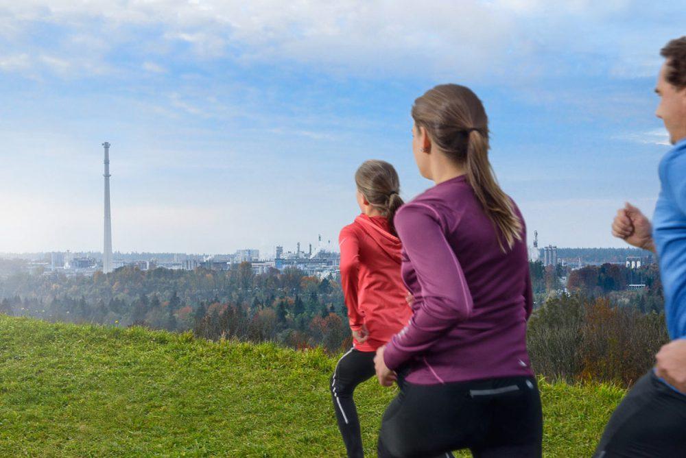 Freizeitsport Laufgruppe vor Chemiepark Gendorf