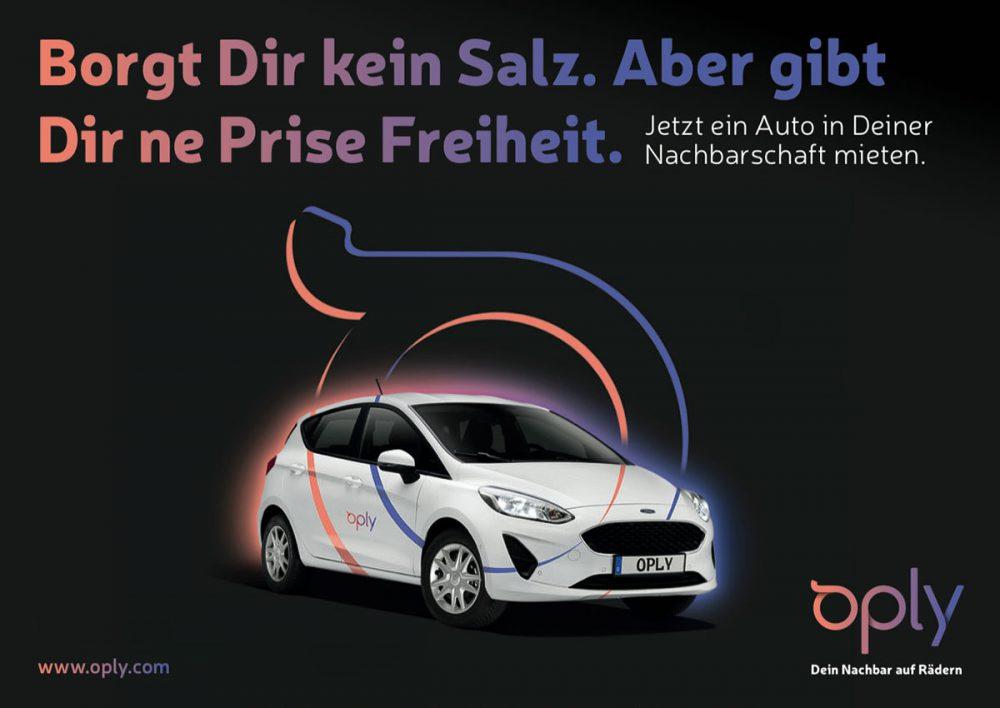 Oply Anzeige Mietwagen Ford Fiesta