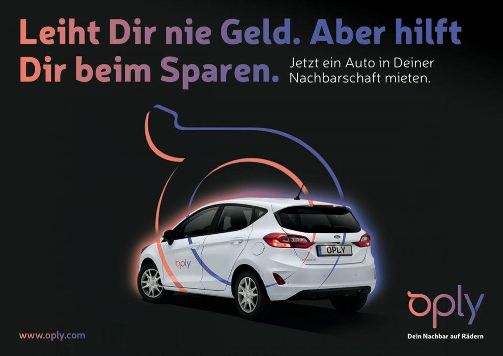 Oply Anzeige Mietwagen Ford Rueckansicht